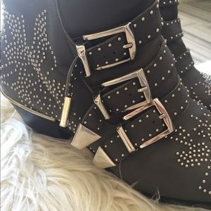 Chloe Susanna Grey Studded Buckle Boot - Size 37.5